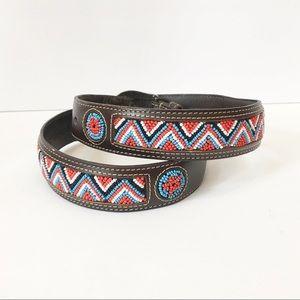 Boho Western Beaded Leather Belt Liz Claiborne